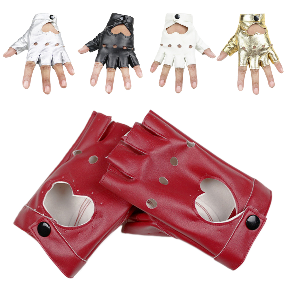 1 Pair Autumn Winter Solid Cool Heart Hollow Fingerless Gloves Black Women Fashion PU Leather Half Finger Gloves