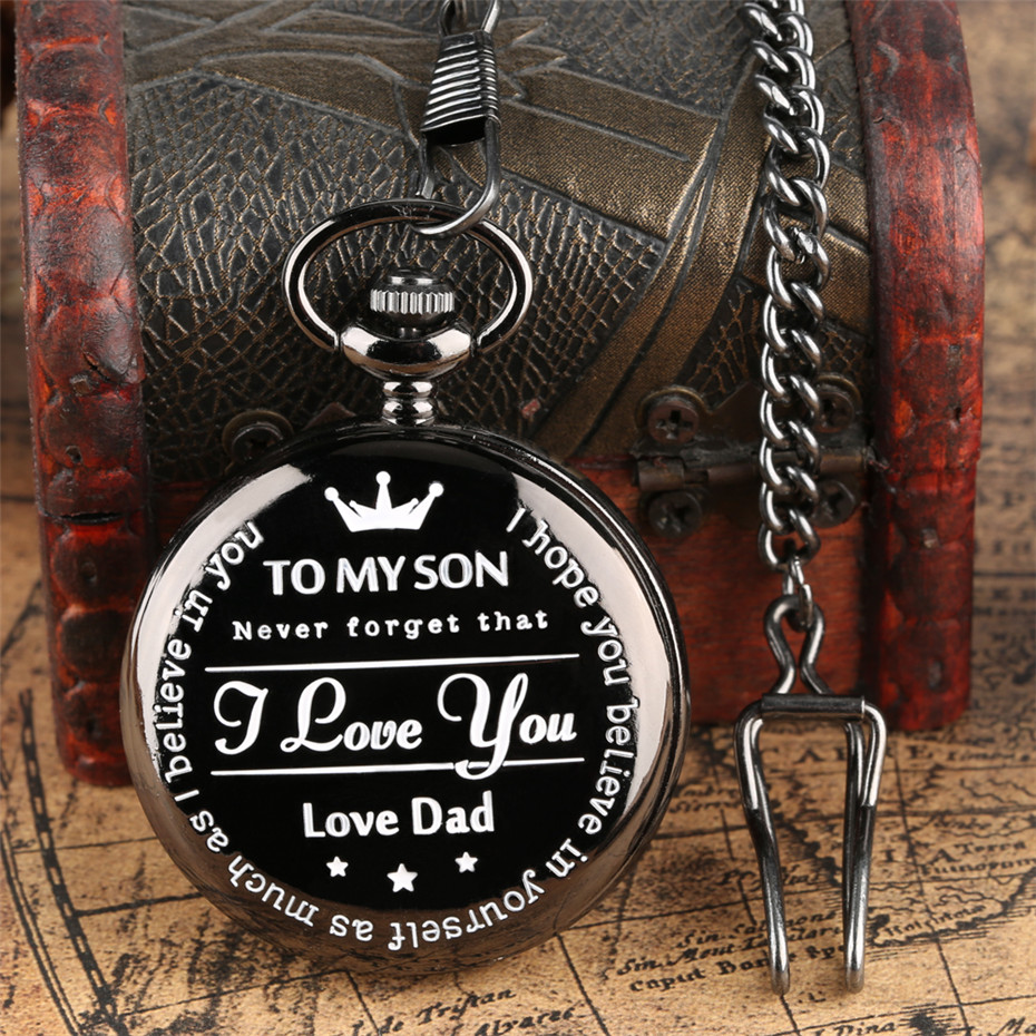 Unique To My Son Personalized Customized Quartz Pocket Watch Retro Black Pocket Chain Cool Birthday Gifts For Boys Love Dad