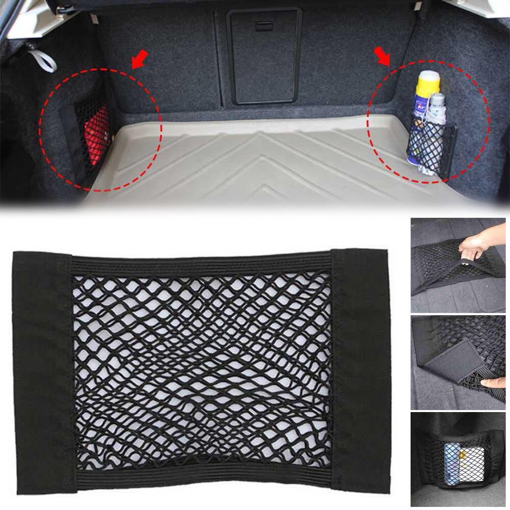 Arrimage et rangement Accessoires auto Kingus voiture arrière sac de rangement de coffre arrière filets de chargement magie autocollant organisateur de maille élastique sac de rangement