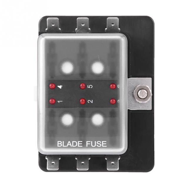 1Pcs Car Boat 6 Way DC 10-32V Blade Fuse Box Holder With LED Warning Light Car Auto ABS Car Accessories Fusibles Auto Fuse Box