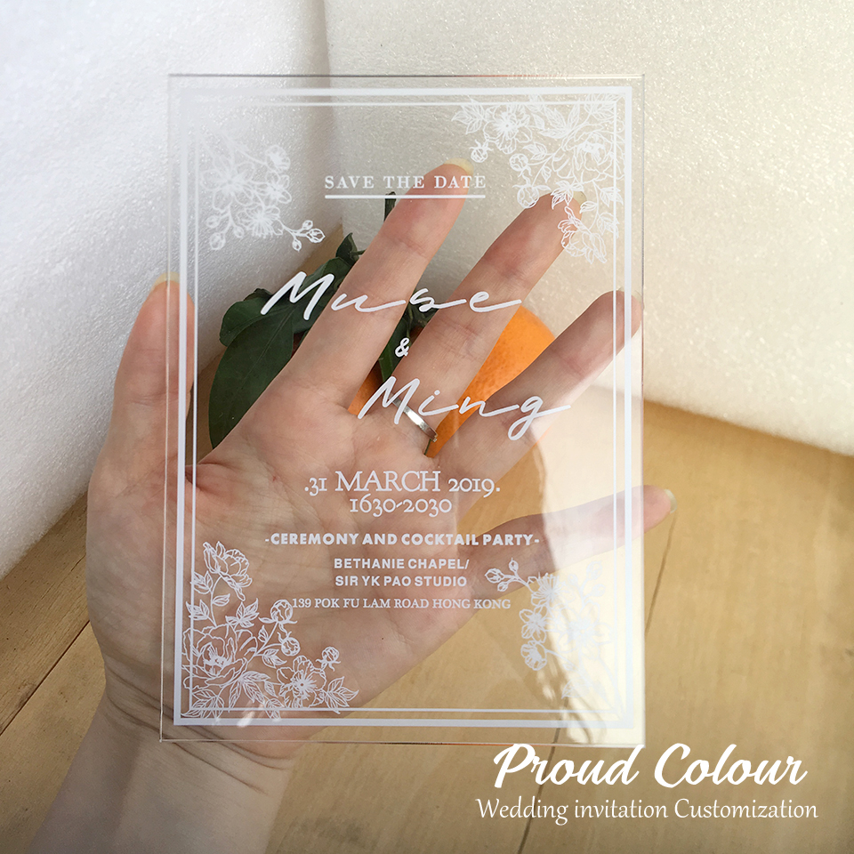 Fier 10 Pieces Par Lot Personnalise Blanc Impression Carte Acrylique Transparente Style Europeen Carte D Invitation De Mariage Fleur Rilievo 3d Aliexpress