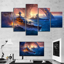 5 Panel Battleship War Weapon Poster Printed Painting For Living Room Wall Art Decor Picture Artworks Poster Canvas Wholesale 4 panel military uss missouri navy war weapon poster printed painting for living room wall art decor picture artworks poster