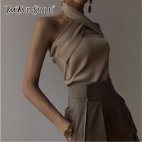 TWOTWINSTYLE Solid Sleeveless Sexy Women Sweater Halter Off Shoulder Slim Knitted Tops Female Fashion Summer 2019 New Tide