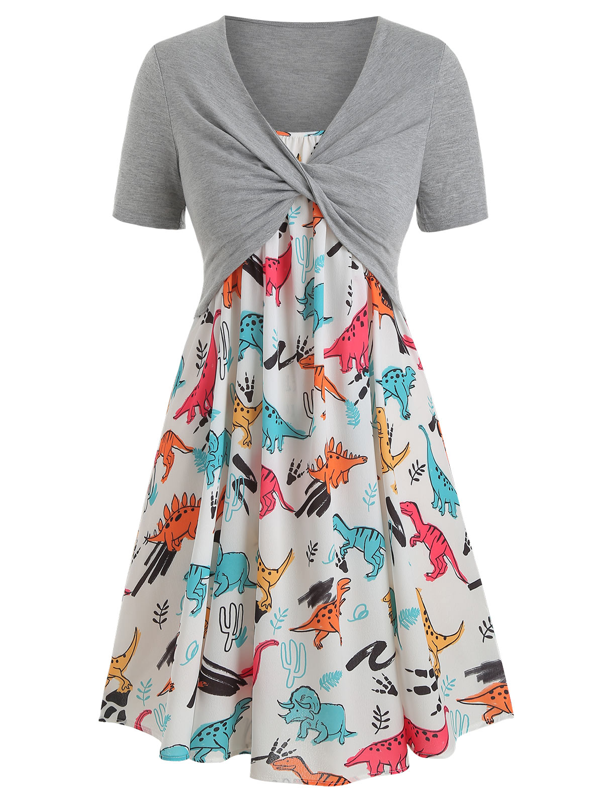 Wipalo プラスサイズ恐竜プリントフリルドレスツイストトップ A ラインスパゲッティストラップ動物プリント夏ドレス女性高ワーシトローブ  グループ上の レディース衣服 からの ドレス の中 1