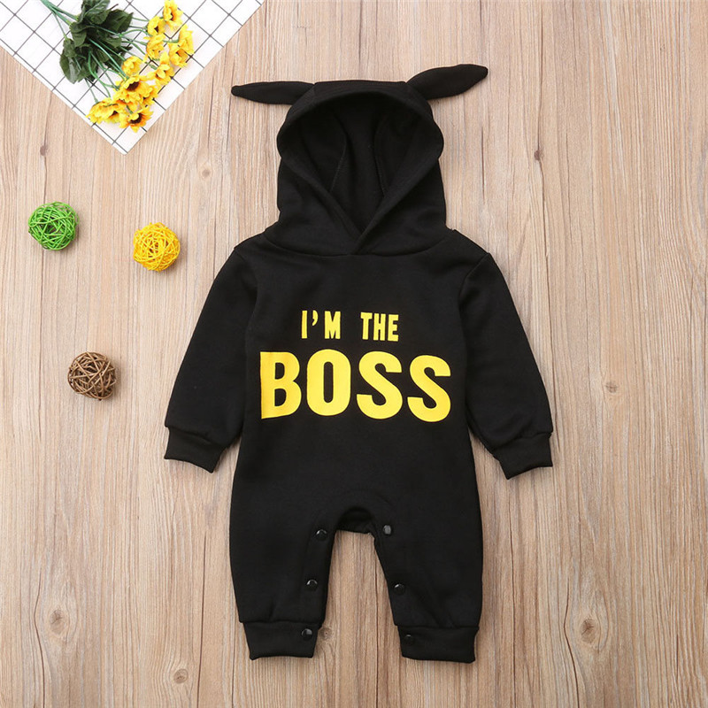Autumn Winter Hooded Boss   Romper   newborn girl clothes Infant Hoodies Jumpsuits Outfits baby boy newborn clothes Cotton