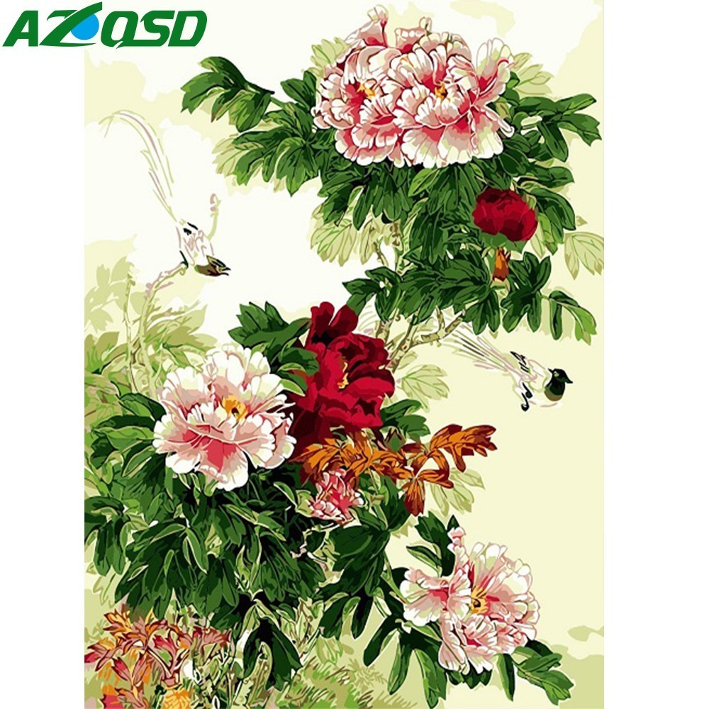 AZQSD Oil Painting By Numbers Paint Subshrubby Peony Flower Canvas Picture Hand Painted Oil Painting Home Decoration SZYH6238