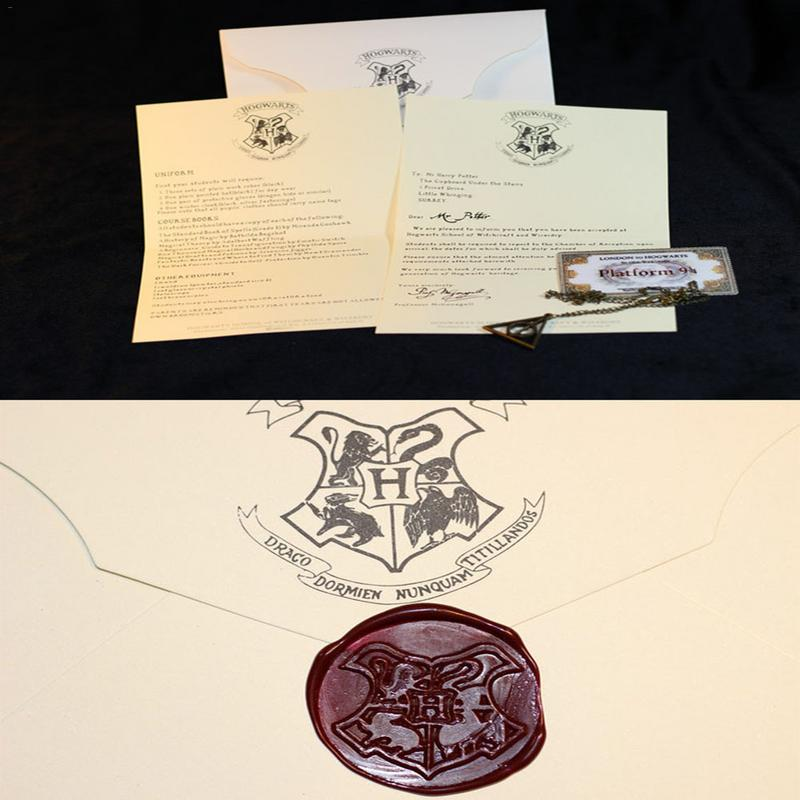 HOT Harry Potters Hogwarts Acceptance Letter Package Five Pieces Suit Cosplay Props For Adult And Children Birthday Party Gift