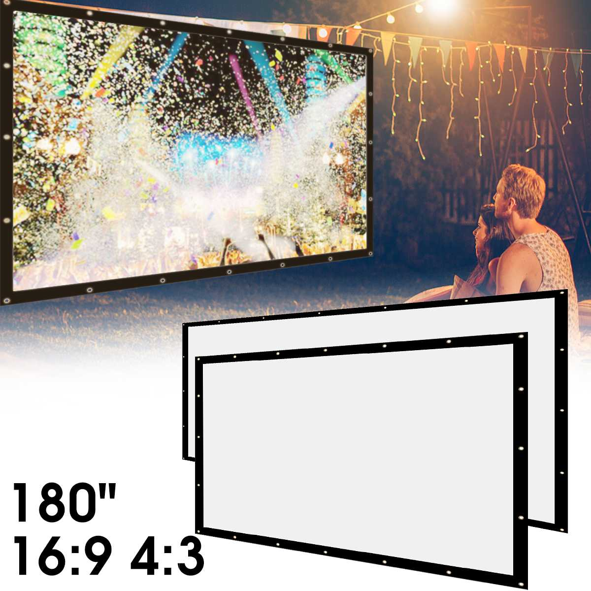 4:3 180 inch Portable Foldable Projection Screen 3D HD Home Theater Outdoor Cinema Canvas LCD LED Projector Accessories newpal 150 inch projector screen 4 3 16 9 foldable projector screen for outdoor and home cinema movies