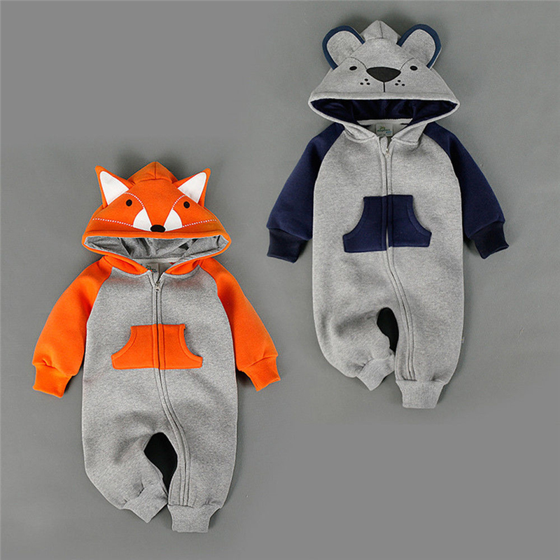 Newborn Baby Boy Girl Cartoon Fox Bear Hooded   Romper   Jumpsuit Playsuit Clothes 0-18M