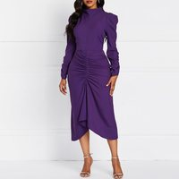 Summer Retro Party Purple Elegant Women Pleated Dresses Casual Plus Size Vintage Office Lady Stand Collar Female Fashion Dress