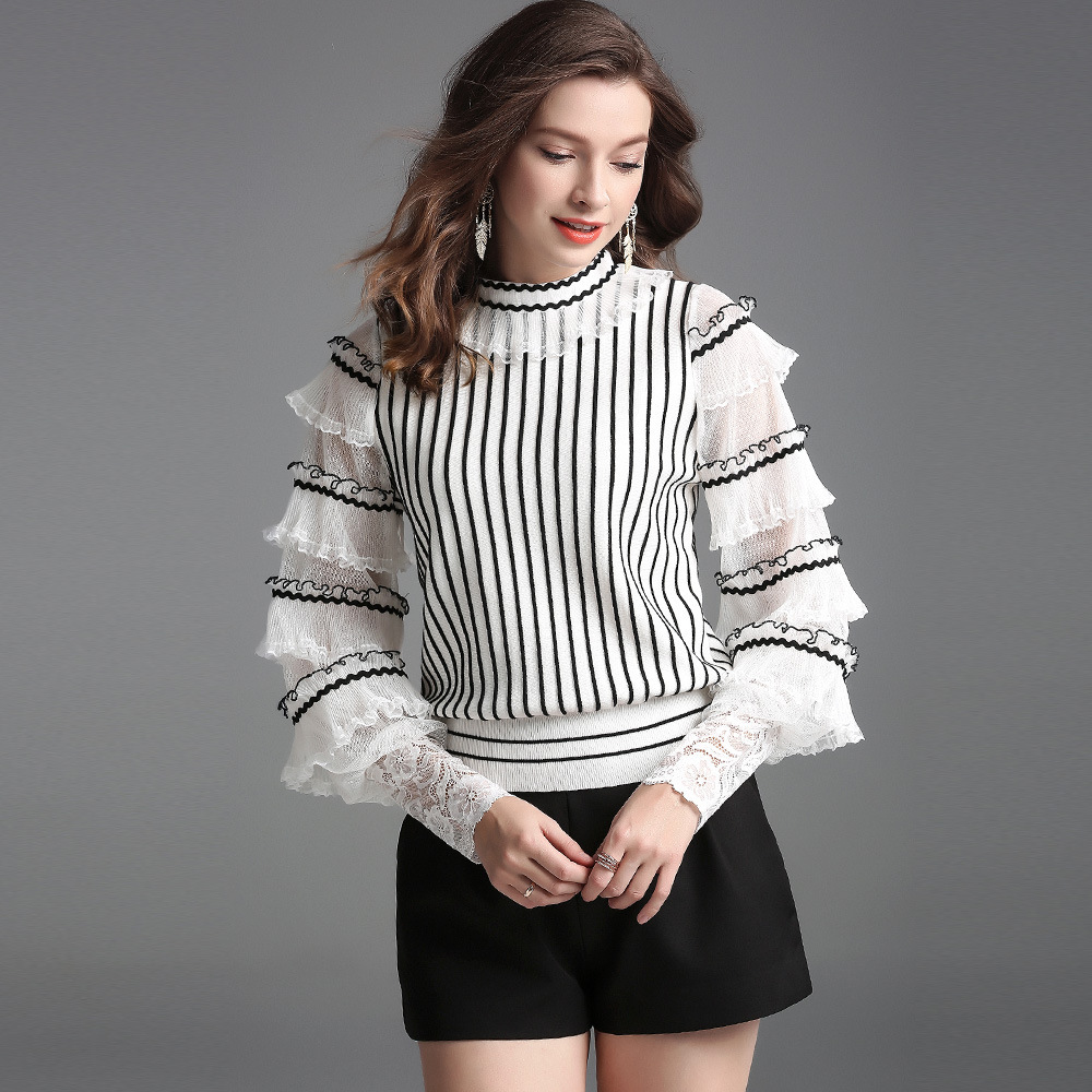 2019 Spring Autumn Elegant Ruffles Butterfly Sleeve Pullovers Korean Women Turtleneck Striped Wool Knitted Sweater