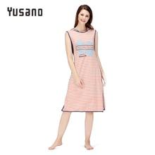 Yusano Women Nightgown Cotton Sleepwear Causal Home Dress Nightdress Sleeveless With Cap Sleepshirt Stripe Print Patchwork
