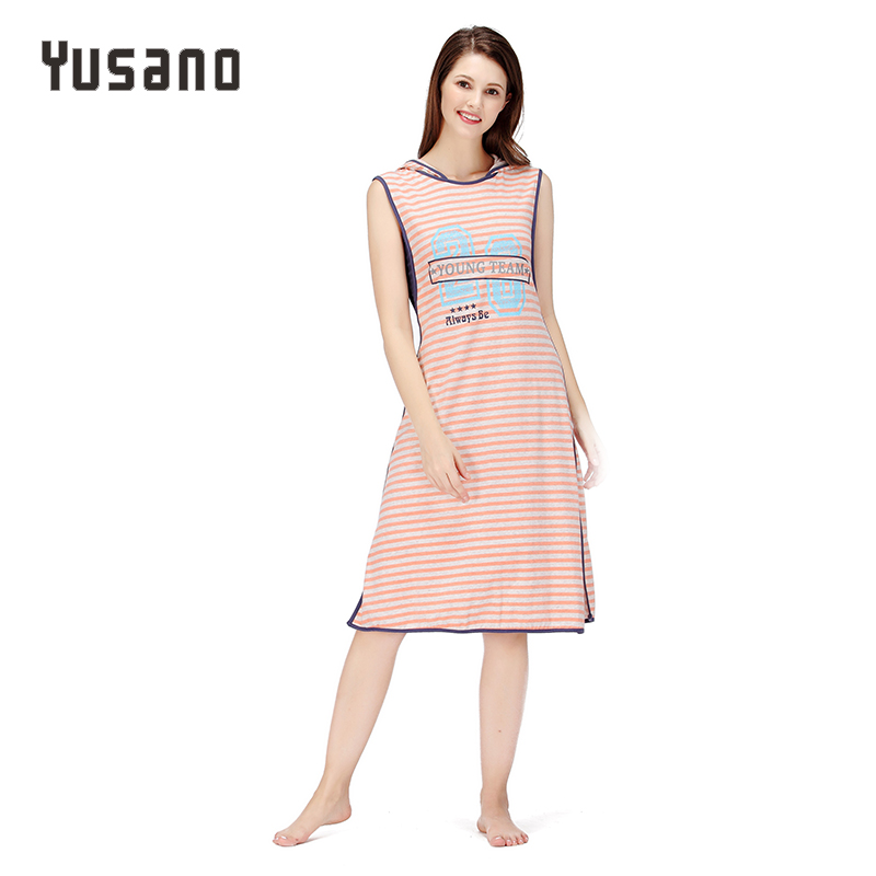 Yusano Women   Nightgown   Cotton Sleepwear Causal Home Dress Nightdress Sleeveless With Cap   Sleepshirt   Stripe Print Patchwork