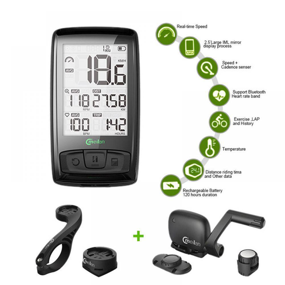 Compteur de vitesse sans fil pour ordinateur de vélo tachymètre Cadence + capteur de vitesse ensemble météo avec moniteur de fréquence cardiaque Bluetooth