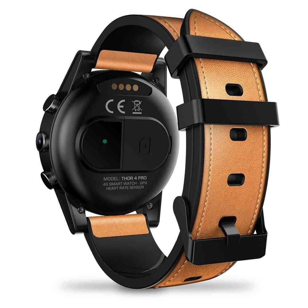 Смарт-часы Zeblaze THOR 4 PRO 4G, 1,6 дюймов, с кристаллами, gps/ГЛОНАСС, четыре ядра, 16 ГБ, 600 мА/ч, гибридные, с кожаными ремешками, мужские