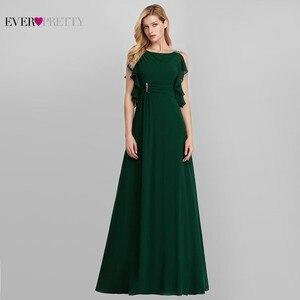 Image 4 - Zarif abiye uzun hiç Pretty o boyun A Line kolsuz Ruffles koyu yeşil kadın Vintage şifon parti elbiseler 2020
