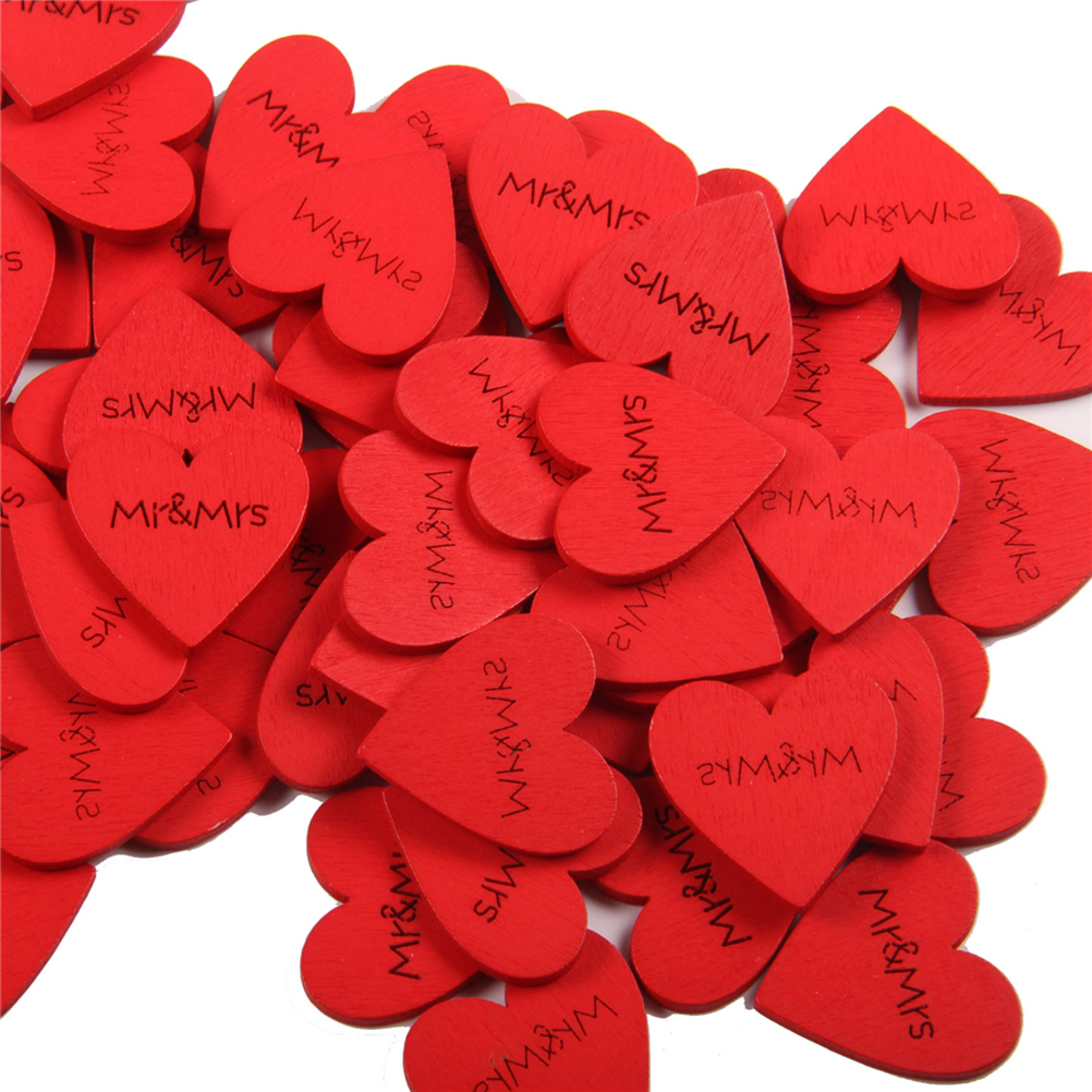 100pcs Mr&Mrs Print Wooden Confetti Table Scatters DIY Crafting Heart Shaped Slices Embellishments For Wedding Party Birthday
