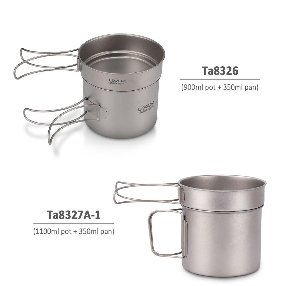 Batterie de cuisine de Camping Lixada ultralégère en titane Frypan 900 ml Pot et poêle à frire 350 ml avec poignées pliantes randonnée pique-nique cuisine