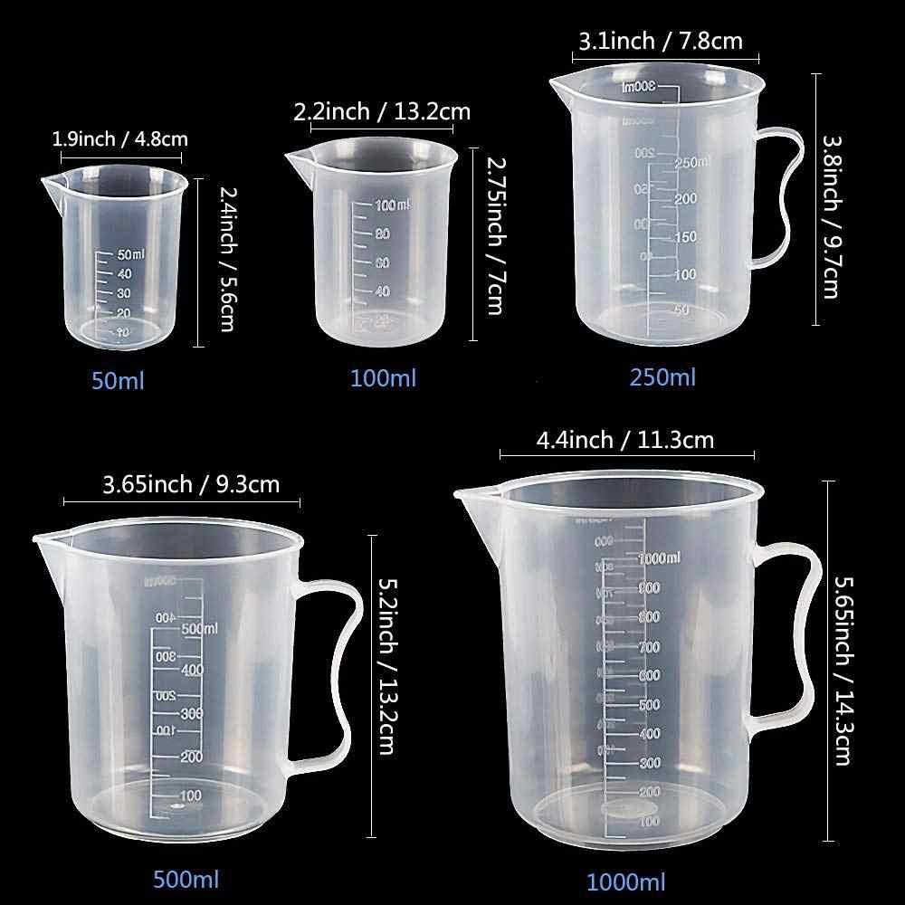 Пластиковые цилиндры и пластиковые шейкеры, 5 пластиковых градиентных цилиндров 10 мл 25 мл 50 мл 100 мл 250 мл и 5 шт. пластинок