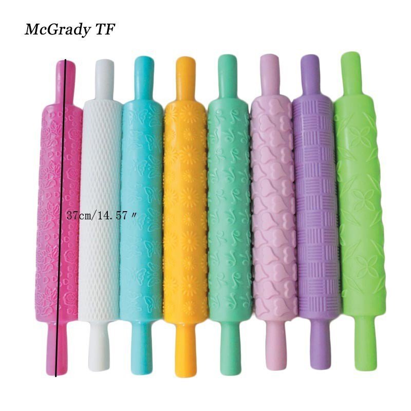 Plastic Cake Decorating Baking Embossed Textured Patterned Fondant Rolling Pin Kitchen Tool Useful and Practical