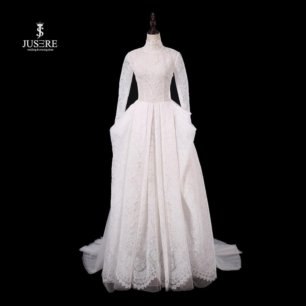 JUSERE 2019 New Design Long Sleeve Ivory Wedding Dress