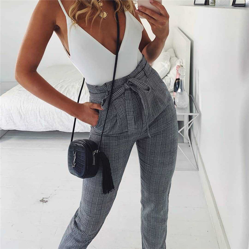 Fashion Women High Waist Bnadage Harem Pants Elegant Plaid Check Trousers Checkerboard Pantalon Femme Gingham Streetwear