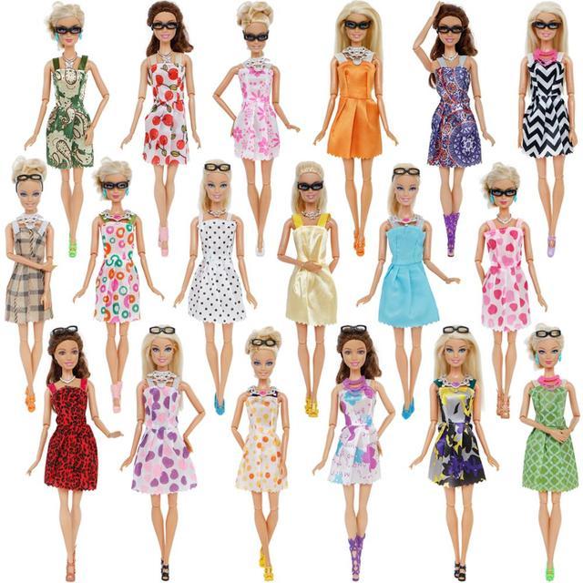 30 Item/Set Doll Accessories = 10x Mix Fashion Cute Dress + 4x Glasses+ 6x Necklaces +  10x Shoes  Dress Clothes For Barbie Doll 2
