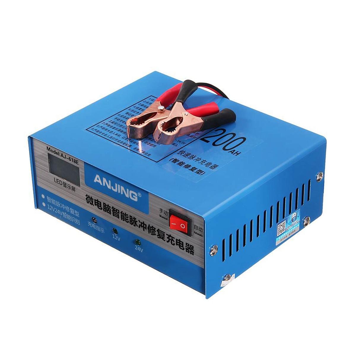 Chargeur de batterie de voiture réparation d'impulsion intelligente automatique 130 V-250 V 200Ah 12/24V avec adaptateur