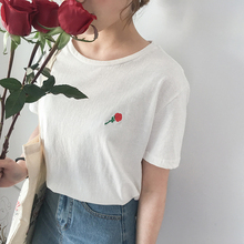 цена на Women's Embroidered T-shirt Women Short Sleeve T Shirt Tee Tops Fashion Stylish T-shirts with Ribbed Crewneck Long T-shirt