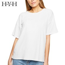 HYH Haoyihui Female T-Shirt Round Neck Fashion Short Sleeve Summer Tee New Streetwear Popular Tops White Wholesale Dropshipping