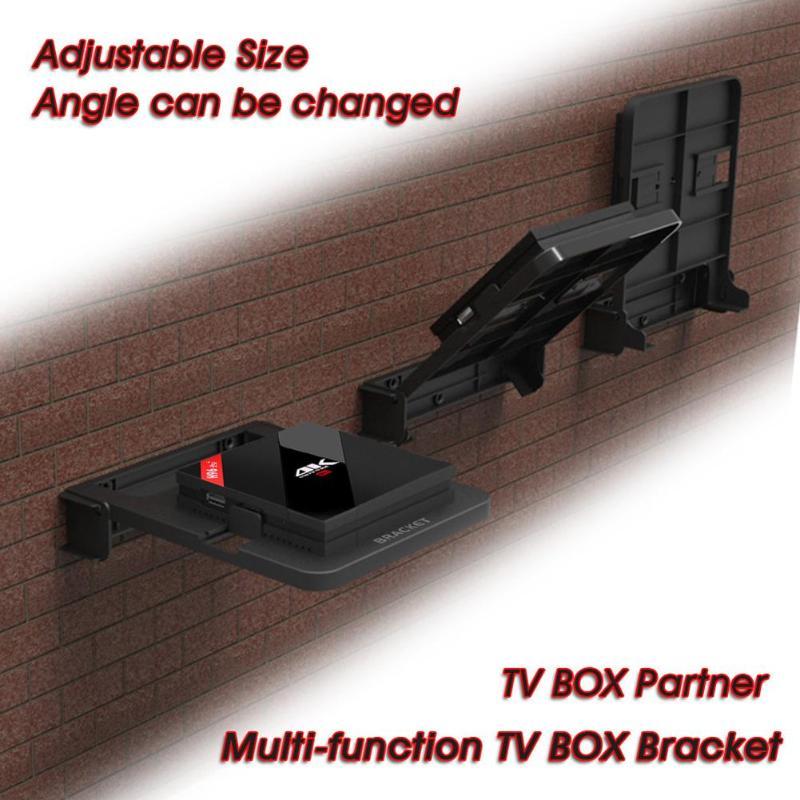 Universal TV Box Stand Mount TV Top Box Wall Holder Mount Set DVD Router Bracket 100-138mm TV Box Bracket For H96 Pro