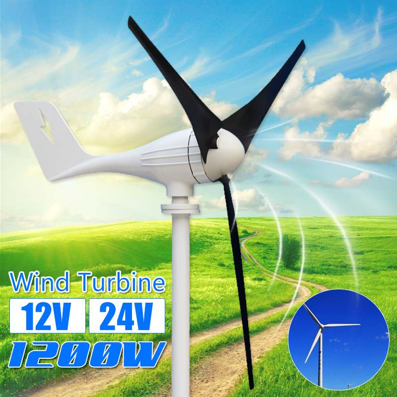 1200W 12V/24V 3 Blades  Horizontal Wind Power Turbines Generator Home Wind Turbines Residential for Home1200W 12V/24V 3 Blades  Horizontal Wind Power Turbines Generator Home Wind Turbines Residential for Home