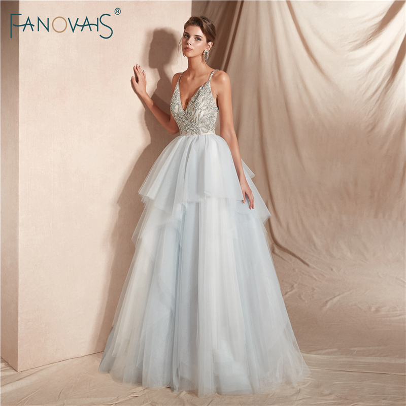 Luxury 2019 Wedding Dresses Long V Neck Shiny Crystal Beaded Wedding Gown Tulle Princess Ball Gown