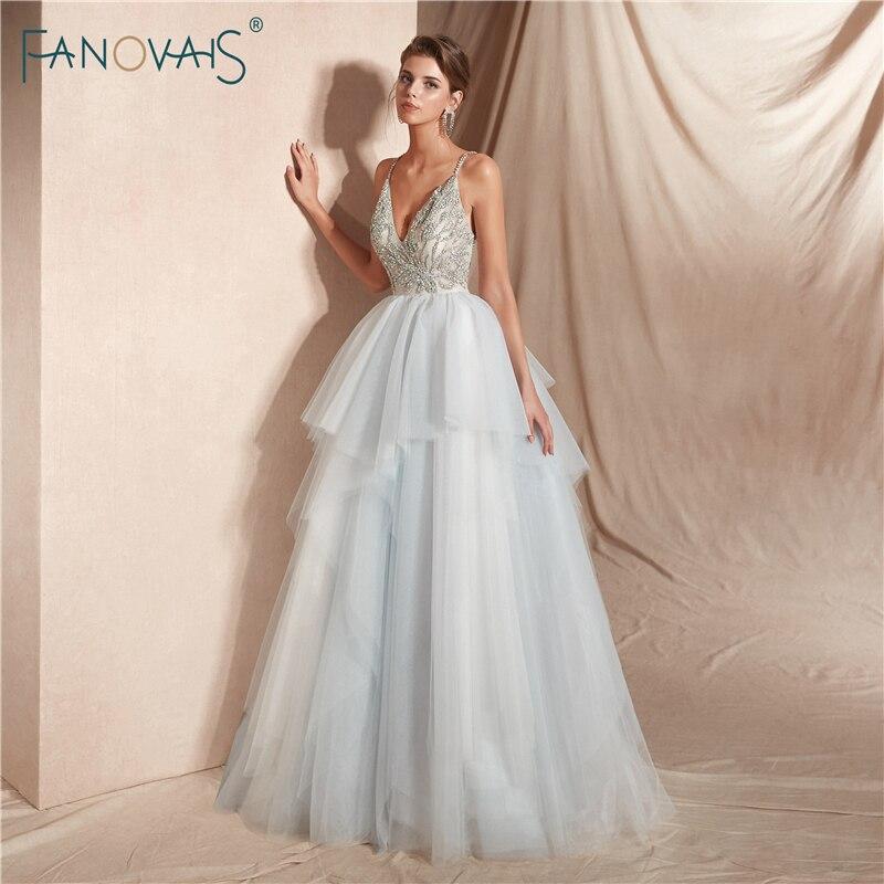 Luksusowe 2019 Suknie ślubne Z Długim Szyi Kryształ Zroszony Suknia