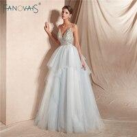 Luxury 2019 Wedding Dresses Long V Neck Shiny Crystal Beaded Wedding Gown Tulle Princess Ball Gown Dress Vestido de Noiva WN24