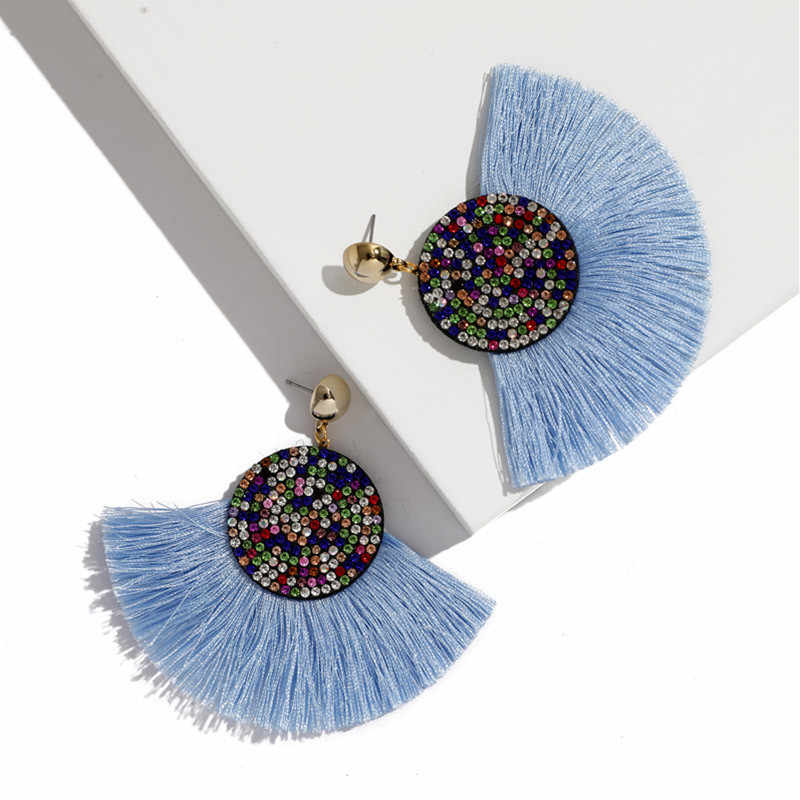 JOUVAL Fringe Tassel Drop Earrings For Women Vintage Rhinestone Dangle Boho Style Eardrop Summer Beach Jewelry Brincos Bijoux