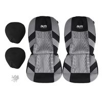 In Stock! Double Seat Fabric Car Full Surround Front Seat Cover Cushion Protector Chair Pad Universal Black and Grey Seat Cover
