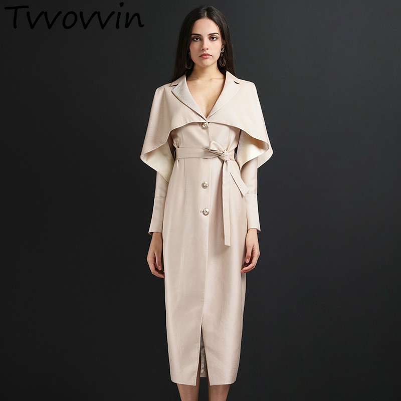 TVVOVVIN Long Women New 2019 Spring Summer Single Breasted A-line Coat Female Hollow Out Solid Color   Trench   E422