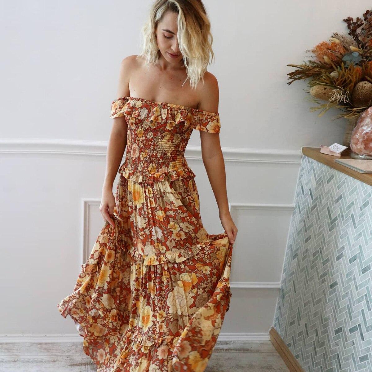 Jastie hors-école plage Sexy robe Vintage imprimé Floral Maxi vêtements 2019 été femmes vêtements Boho robe décontracté Vestidos