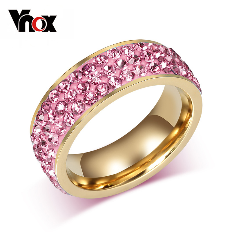 Vnox Wedding-Rings Jewelry Stainless-Steel Cubic-Zirconia-Girl Crystal Vintage Women