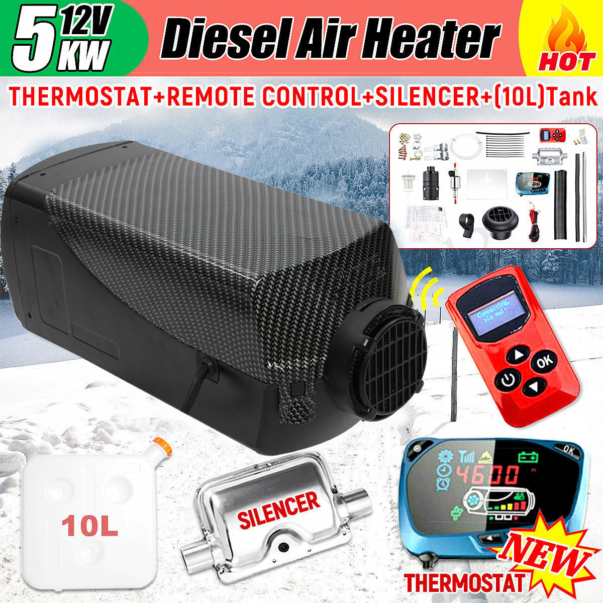 8KW 12V All in One Diesel Fuel Heater with Blue LCD Display Remote Control Single Air Outlet Energy Saving Pump for Car RV Boats Bus Caravan FlowerW Upgraded Diesel Air Heater Parking Heater