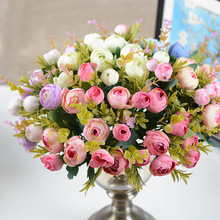 European Small to Artificial Flowers 10 Head Camellia Indoor Simulation Plant Wedding Silk Flower Corsage