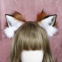 Новый ручной работы животного обруч для волос красный уши лисы аксессуары для волос для женщин девушки косплей LOL