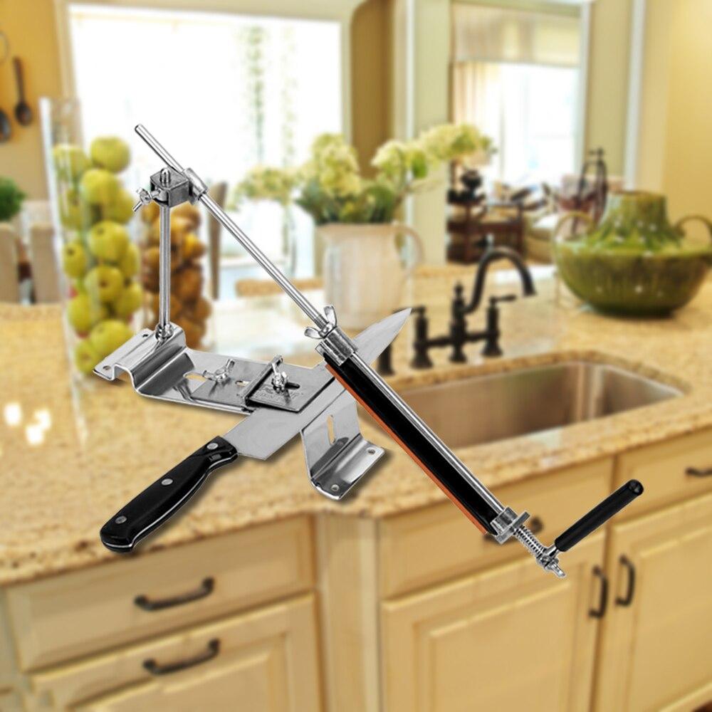 Système d'affûtage de cuisine outils tout fer acier affûteuse de couteau avec 4 pierres Whetstone professionnel Fix-angle