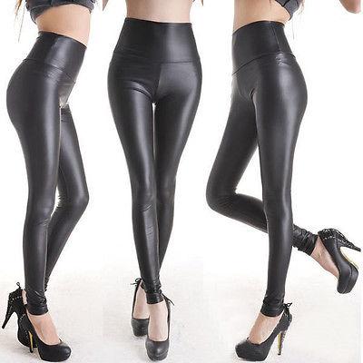 Sexy Women Faux Leather Pants Matt Look Pant High Waist Stretch Black Leather Slim Pants Leggings