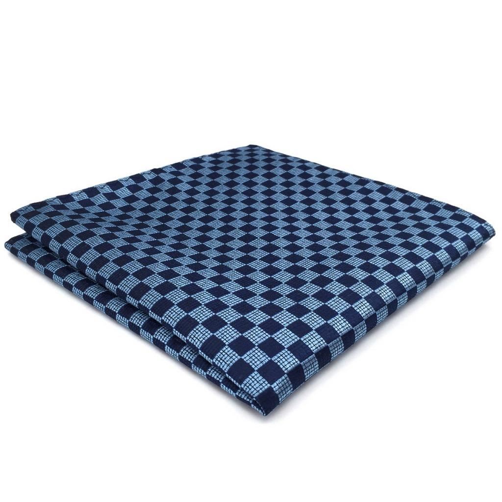 CH22 Navy Light Blue Checkes Mens Pocket Square Wedding Fashion Hanky Dress Accessory Silk