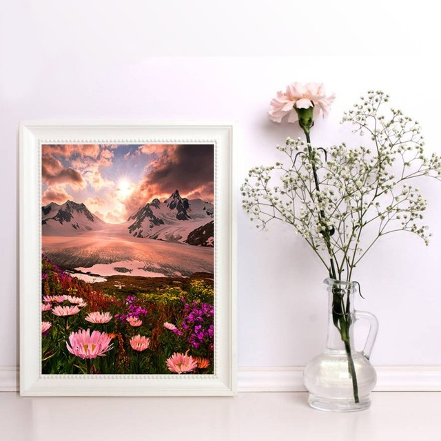 HUACAN Diamond Painting Landscape Diamond Embroidery Full Round Diy Kit Drill Needlework Diy Rhinestone Mosaic Picture