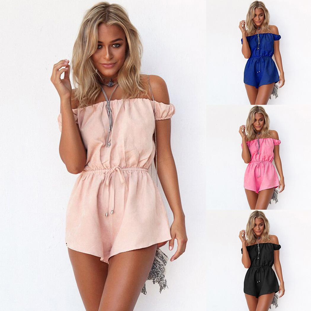 Women Fashion   Jumpsuit   Strapless Solid Color Elastic Waist Rompers