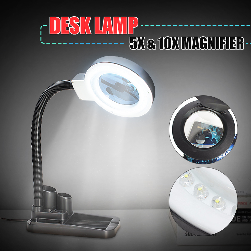 CLAITE Crafts Glass Lens LED Desk Magnifier Lamp Light 5X 10X Magnifying Desktop Loupe Repair Tools With 40 LEDs Stand Light