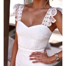 Bodycon Sexy Party Dress Summer 2019 Fashion Women Hollow Out Lace Dress White Ladies Backless Mermaid Tunic Midi Dresses Women sexy black hollow lace bodycon party midi dress